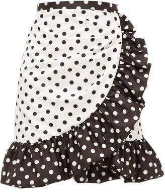 Rodarte Ruffled Polka-dot Skirt - White Black