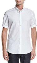 Alexander McQueen Short-Sleeve Button-Down Shirt, White