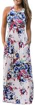 Greenis Summer Women Maxi Dress Floral Printed Casual Polyester Stretched