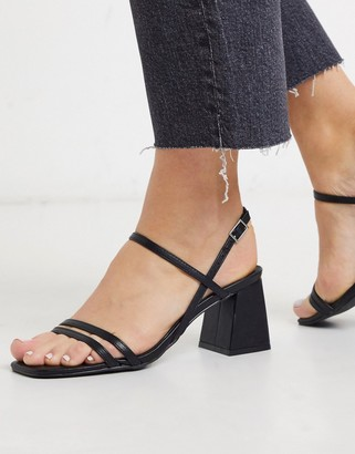 New Look strappy square toe flared heeled sandals in black