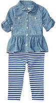 Ralph Lauren Girl Chambray Top & Legging Set