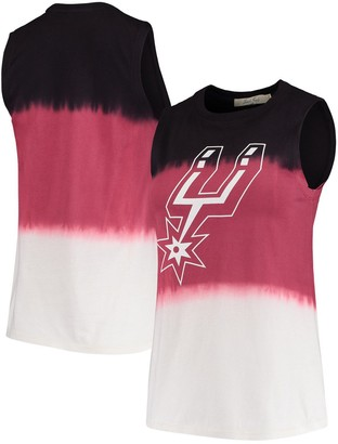 Women's Junk Food Black San Antonio Spurs Muscle Dip Dye Tank Top