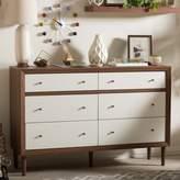 Baxton Studio Harlow Mid-Century Modern Scandinavian 6-drawer Dresser