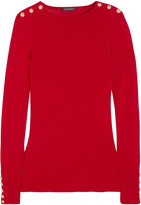 Balmain Embellished Wool And Cashmere-blend Sweater - Red