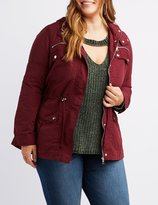 Charlotte Russe Plus Size Anorak Plaid Hooded Jacket