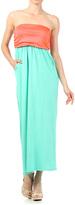 Coral & Mint Strapless Dress