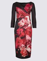 Per Una Floral Print Scuba Bodycon Midi Dress