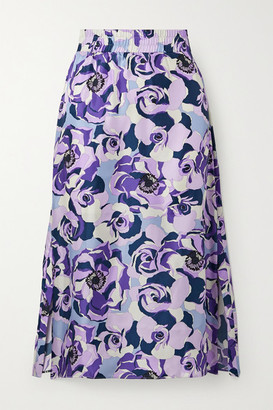 Art Dealer - Floral-print Silk-satin Twill Midi Skirt - Purple