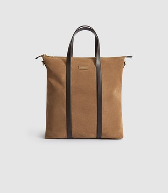 Reiss HUXLEY SUEDE TOTE BAG Camel