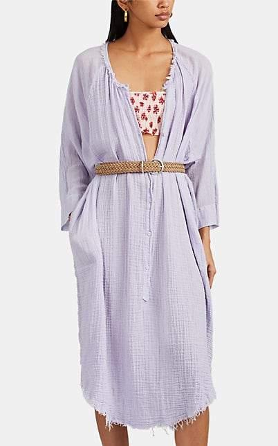 Raquel Allegra Women's Poet Waffled Cotton Gauze Henley Dress - Purple