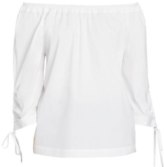 Lafayette 148 New York Keene Off-The-Shoulder Tie-Sleeve Blouse