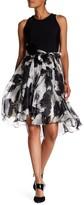 Carmen Marc Valvo Sleeveless Abstract Chiffon Dress