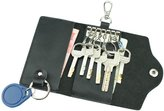 MuLier Cowhide Full Grain Leather Key Holder Wallet 6 Hooks/ Removable Car Key Ring