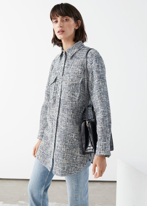 And other stories Oversized Tweed Shirt Jacket