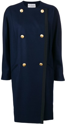 Gianfranco Ferré Pre Owned Double-Breasted Collarless Coat