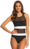 Anne Cole Mesh High Neck Keyhole One Piece Swimsuit 8137582
