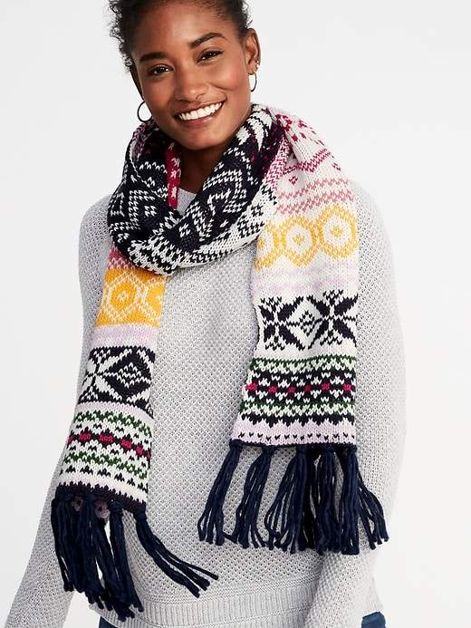 Jacquard Sweater-Knit Fringe Scarf for Women