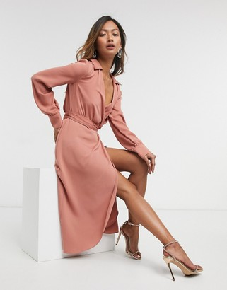 ASOS DESIGN collared wrap midi dress with tie belt in teracotta