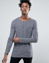 BOSS ORANGE By Hugo Boss Long Sleeve Top Slim Fit Raw Edge Marl
