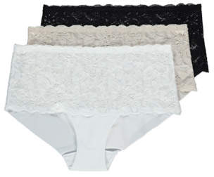 George No VPL Lace Top Midi Knickers 3 Pack