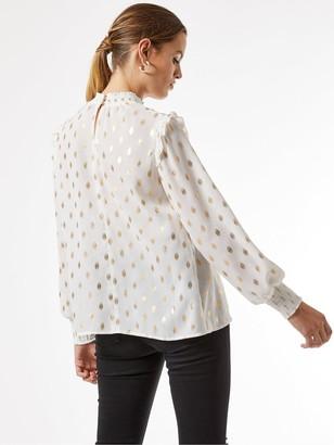 Dorothy Perkins Foil Spot PrintRuffle Shirt -Ivory