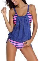 Papaya Wear Womens Stripes Lined Double Up Tankini Two Piece Swimwear Set M