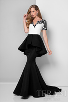 Terani Evening - Short-sleeve Peplum Mermaid Gown 1712M3421
