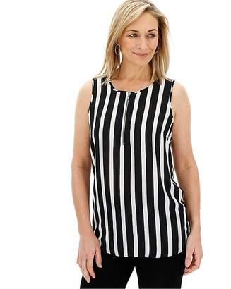 Capsule Stripe Print Zip Front Vest Blouse