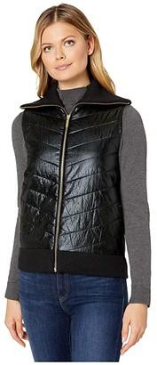 MICHAEL Michael Kors Sweater Back Puffer Vest (Black) Women's Clothing
