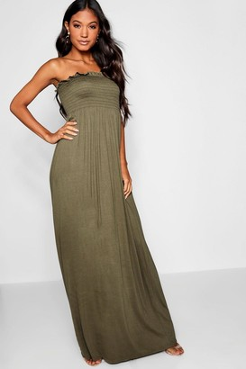 boohoo Shirred Bandeau Maxi Dress