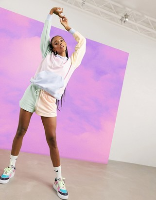 Nike mini metallic swoosh colour block shorts in multi