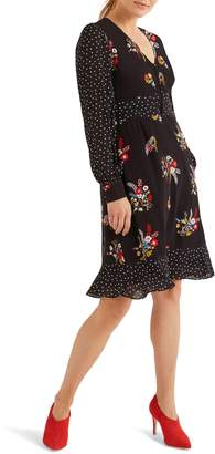 Boden Ivy Long Sleeve Mixed Print Dress