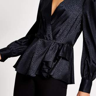 River Island Womens Black peplum satin jacquard blouse