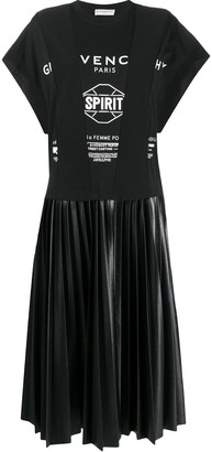 Givenchy logo-print pleated T-shirt dress