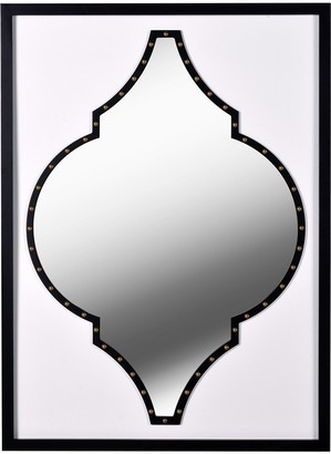 Kenroy Home Casablanca Faux White Leather and Black Wood Wall Mirror