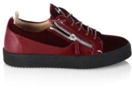 Giuseppe Zanotti Low Velvet Amaranto Leather Sneakers