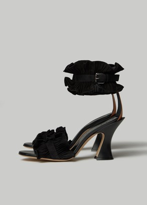 Lanvin Women's Suede Ankle Detail Heeled Sandal in Black Size 36 Calfskin Leather