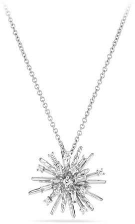 David Yurman Supernova Small Diamond Pendant Necklace in 18K White Gold