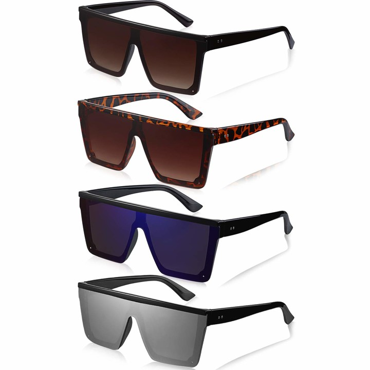 Thumbnail for your product : Frienda 4 Pairs Oversized Flat Top Sunglasses Vintage Square Sunglasses (Ice blue