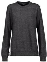 Clu Wrap-Effect Striped Cotton-Blend Poplin-Paneled Cotton-Blend Terry Sweatshirt