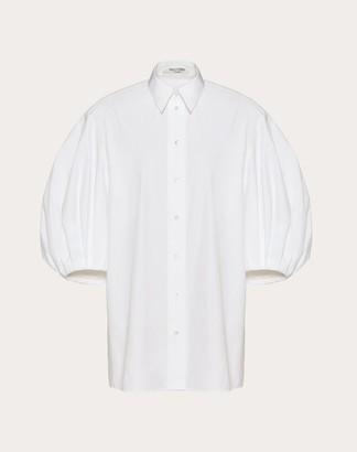Valentino Technical Poplin Shirt Women White Cotton 75%, Polyester 25% 40