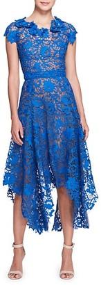 Marchesa Lace Handkerchief Hem Midi Dress