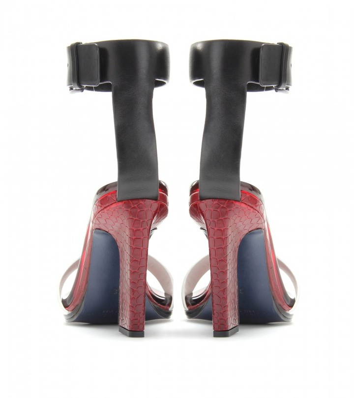 Jil Sander EMBOSSED LEATHER SANDALS WITH ANKLE STRAP