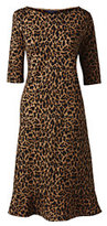 Lands' End Women's Petite Elbow Sleeve Ponte Shift Dress-Umber Leopard