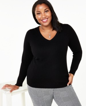 Charter Club Plus Size V-Neck Cashmere Sweater, Created for Macy's