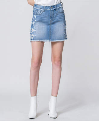 Vervet High Rise Distressed Denim Mini Skirt