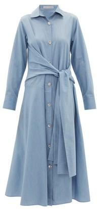 Palmer Harding Palmer//harding - Julia Tie-waist Cotton Shirt Dress - Womens - Blue