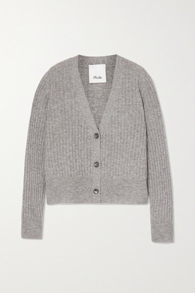 Allude Cropped Ribbed Cashmere Cardigan - Gray