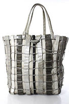 Nancy Gonzalez Gray White Black Alligator Woven Tote Handbag