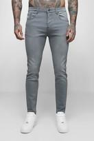 boohoo Mens Skinny Fit Denim Jeans in Pale Grey, Grey